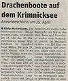 Presseartikel - Drachenbootcup in Brandenburg, Königs Wusterhausen